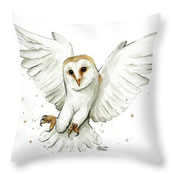 Barn Owl Flying Watercolor Throw Pillow