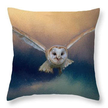 Barn Owl In Flight Throw Pillow