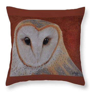 Throw Pillow featuring the drawing Barn Owl by Jo Baner