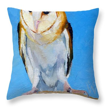 Barn Owl Throw Pillow by Susan Woodward