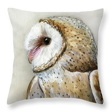 Barn Owl Watercolor Throw Pillow