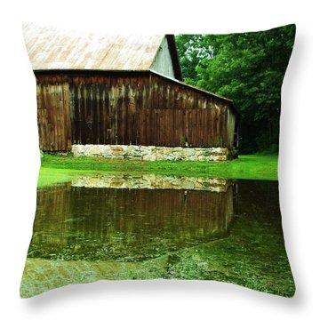 Barn Reflection I Throw Pillow by Anna Villarreal Garbis