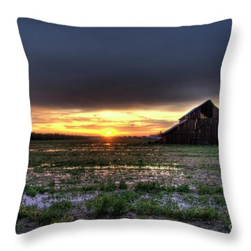 Throw Pillow featuring the photograph Barn Sunrise by Jim and Emily Bush