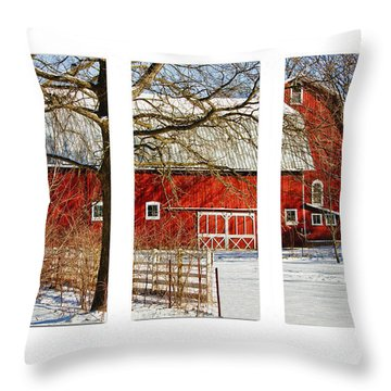 Barn Triptych Throw Pillow