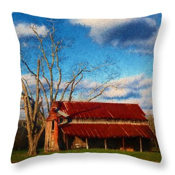 Red Roof Barn 2 Throw Pillow