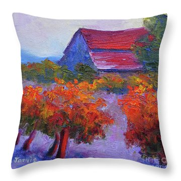 Barn Vineyard Autumn Throw Pillow