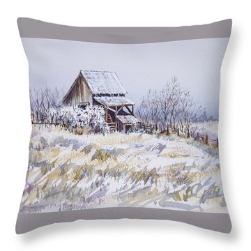 Barn Windmill Road Throw Pillow