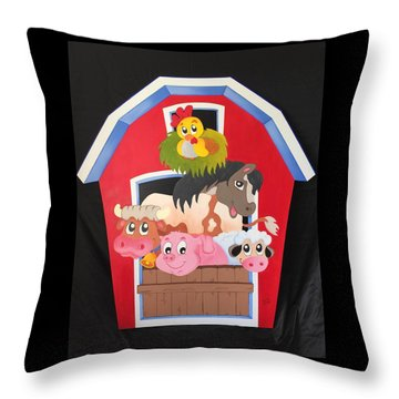 Barn With Animals Throw Pillow