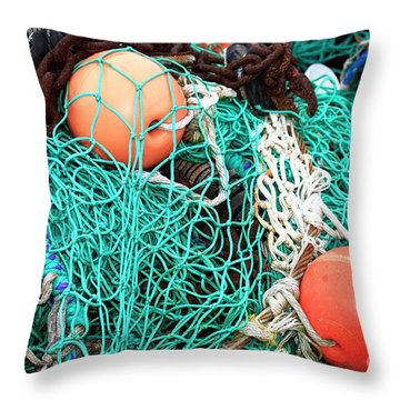 Throw Pillow featuring the photograph Barnegat Fishing Nets by John Rizzuto