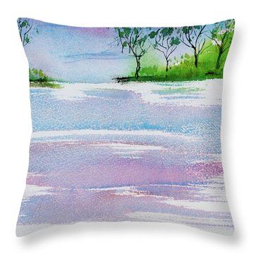 Gum Trees Frame The Sunset At Barnes Bay Throw Pillow