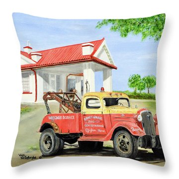 Barnett Garage Throw Pillow