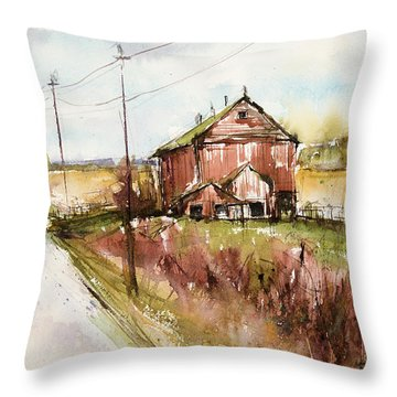 Barns And Electric Poles, Sunday Drive Throw Pillow by Judith Levins