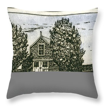 Throw Pillow featuring the mixed media Barnstable Yacht Club Etching by Charles Harden