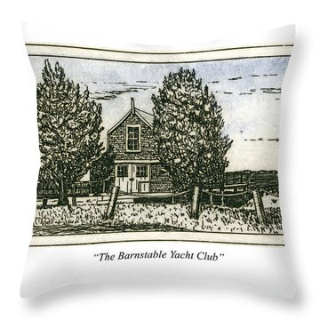 Throw Pillow featuring the mixed media Barnstable Yacht Club Greeting Card by Charles Harden