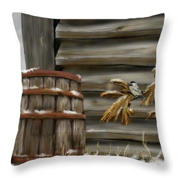 Throw Pillow featuring the digital art Barnyard Barrel And Chickadee by Darren Cannell