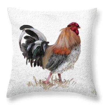 Throw Pillow featuring the digital art Barnyard Boss by Lois Bryan