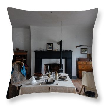 Barracks Interior At Fort Laramie National Historic Site In Goshen County Throw Pillow by Carol M Highsmith