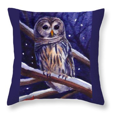 Barred Owl And Starry Sky Throw Pillow