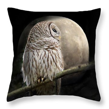Barred Owl Moon Glow Throw Pillow