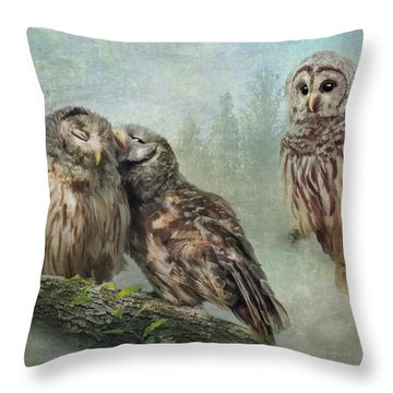 Barred Owls - Steal A Kiss Throw Pillow