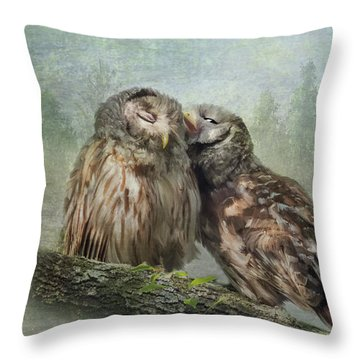 Throw Pillow featuring the photograph Barred Owls - Steal A Kiss by Patti Deters