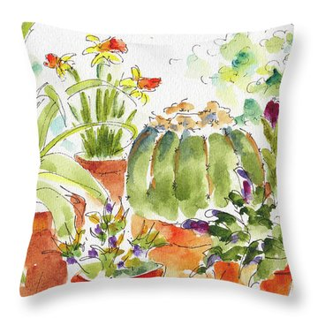 Throw Pillow featuring the painting Barrel Cactus And His Buddies by Pat Katz