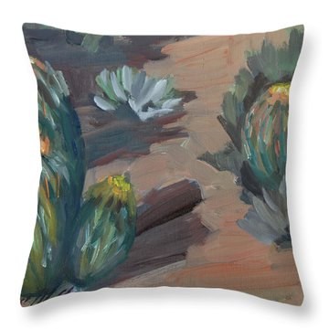 Throw Pillow featuring the painting Barrel Cactus At Tortilla Flat by Diane McClary
