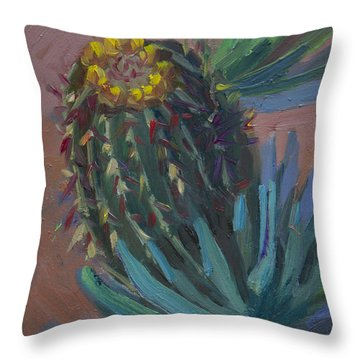 Barrel Cactus In Bloom - Boyce Thompson Arboretum Throw Pillow