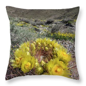 Throw Pillow featuring the photograph Barrel Cactus Super Bloom by Peter Tellone
