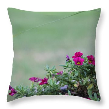 Barrel Of Flowers Throw Pillow