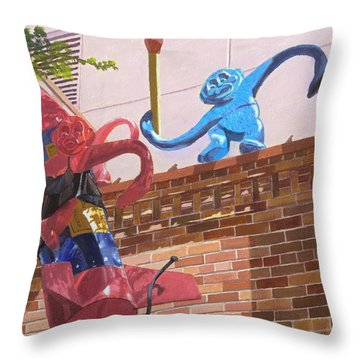 Throw Pillow featuring the painting Barrel Of Fun by Lynne Reichhart