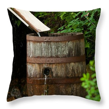 Barrel Of Water Throw Pillow