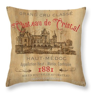 Barrel Wine Label 1 Throw Pillow