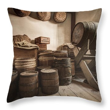 Throw Pillow featuring the photograph Barrels By The Window by Gary Heller