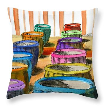 Barrels Of Color Throw Pillow