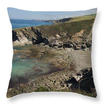 Barretts Zawn In Cornwall Throw Pillow