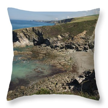 Barretts Zawn In Cornwall Throw Pillow