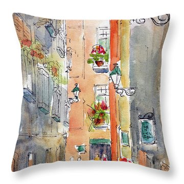 Throw Pillow featuring the painting Barrio Gotico Barcelona by Pat Katz