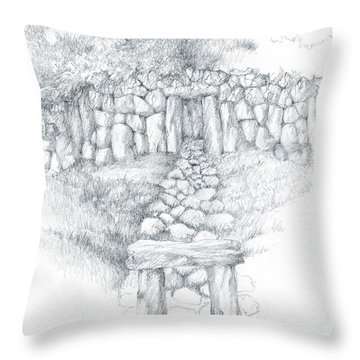 Throw Pillow featuring the drawing Barrow Tomb by Curtiss Shaffer