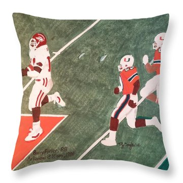Arkansas V Miami, 1988 Throw Pillow by TJ Doyle
