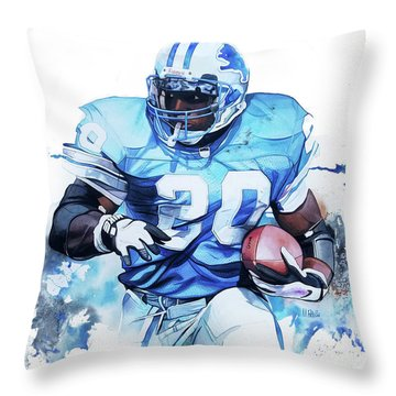 Barry Sanders Gridiron Greats Throw Pillow