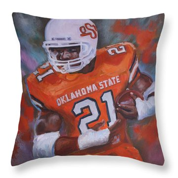 Barry Sanders, Oklahoma State Throw Pillow by Nora Sallows