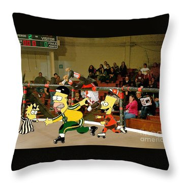 Bart Vs Homer Simpson At The Roller Derby Throw Pillow
