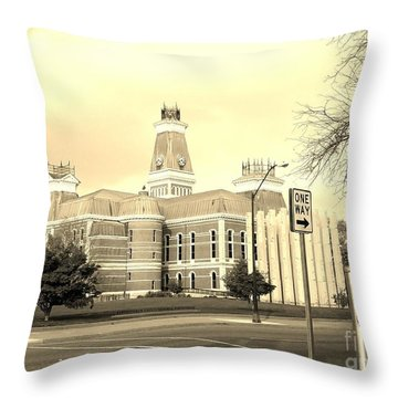 Bartholomew County Courthouse Columbus Indiana - Sepia Throw Pillow