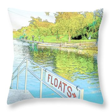 Barton Springs Sketch Throw Pillow
