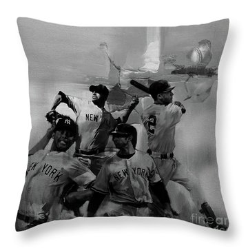 Base Ball Players Throw Pillow by Gull G