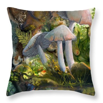 Throw Pillow featuring the painting Base Camp by Sherry Shipley