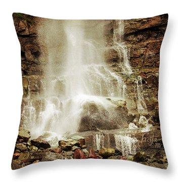 Base Of Cascade Falls Throw Pillow by Krista-