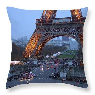 Base Of Eiffeltower Throw Pillow by Erik Tanghe
