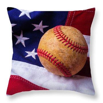 Baseball And American Flag Throw Pillow